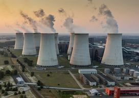 Aerial View of Coal Fired Plant Jaenschwalde in Germany