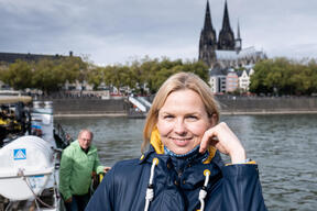 German Record Swimmer Britta Steffen on Beluga II in Cologne