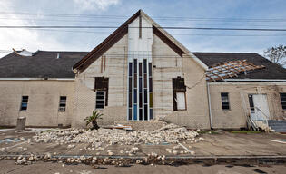 Damage from Hurricane Laura at Church in Louisiana