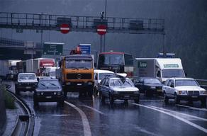 Traffic on Gotthard Highway through the Alps, Switzerland.
