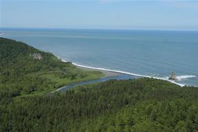 Aerial View of the Coast of Sea of Okhotsk