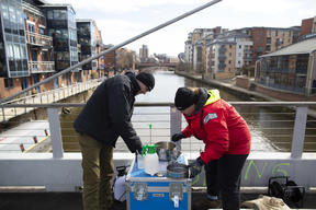 Sampling on River Aire near Leeds, UK