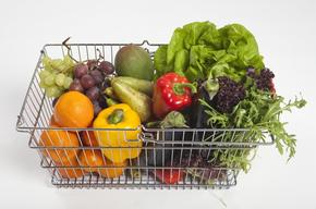 Vegetables and Fruits in Shopping Basket