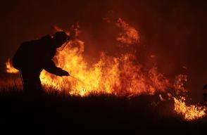 Extinguishing Steppe Fire in Russia