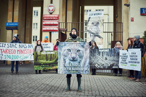 Protest for the Protection of Bialowieza Forest at Environment Ministry in Poland