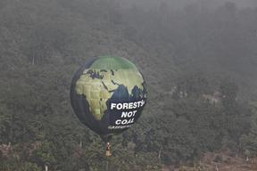 Hot Air Balloon over Forest in India