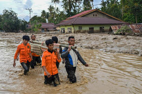 Rescue of Flash Floods Victims in South Sulawesi
