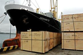 MV Ardhianto off-loads Plywood in Japan