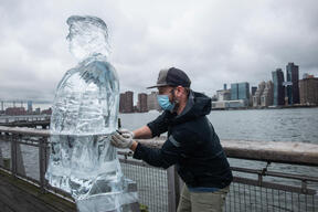 Ice Sculptures of Melting Leaders Trump and Bolsonaro in New York