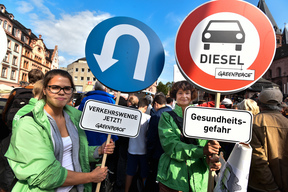 Protest for Transport Transition at Merkel's Campaign Rally in Mainz