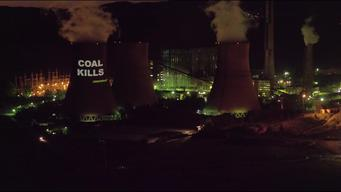 Projection Action on the Bobov dol Coal Power Plant in Bulgaria