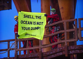 Protests on Shell Brent Oil Platforms in the North Sea