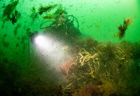 Divers clearing Ghost net in North and Baltic Sea Protected Areas