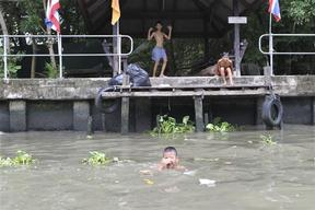 Children Playing in Canal