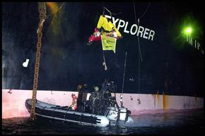 "Greenpeace Action Against Ship ""Explorer"" in Aarhus"
