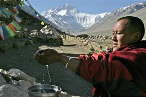 Buddhist Monk With Water, Mount Everest