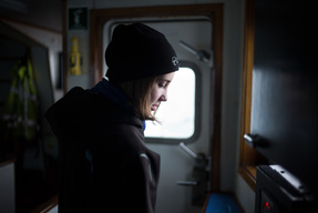 Gaia Romilly Wise on the Arctic Sunrise in Baffin Bay