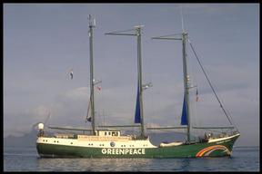 RAINBOW WARRIOR in Tahiti prior to sailing to the French nuclear test  zone of Moruroa.