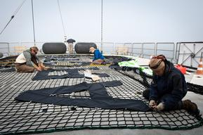 Banner Preparation on the Rainbow Warrior in the North Sea