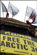 'Free the Arctic 30' Protest at Gazprom HQ in Paris