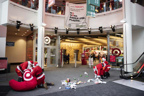 Santas Deliver Single-Use Plastic to Target's HQ in Minneapolis
