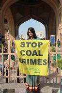 'Stop Coal Crimes' Banner at Charminar