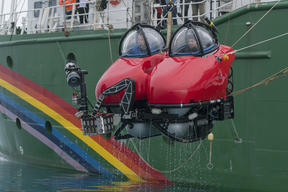 Greenpeace Submarine Emerging from Antarctic Waters