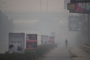 Walking into the Smog in New Delhi