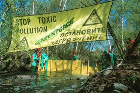 Greenpeace Dam Building Action against Cepruss Pulp and Paper Mill in Kaliningrad