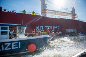 No Trump No Coal Protest in Hamburg Harbour