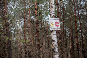 Warning Sign inside the Exclusion Zone in Belarus