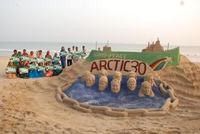 Sand Art in Support of the Arctic 30 in India