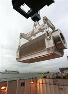 MOX Containers being Loaded onto Nuclear Transport Ship in Cherbourg