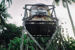 Abandoned Water Tank in Santan Ilir Village in East Kalimantan