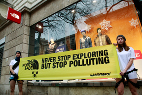 Detox Action in Front of a North Face Store in Budapest