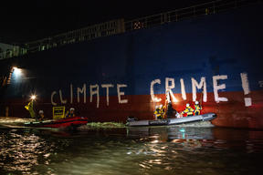 Protest against Ship with Soya Feed in Brake, Germany
