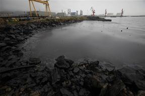 Oil Washes Ashore in Dalian