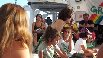 Open Boat day on the Rainbow Warrior in Bodrum