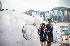Plastic Bags Upcycled to Art Installation in Hong Kong