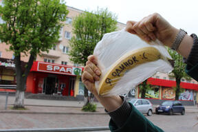 "Volunteers Action against Plastic bags in Kaliningrad near the ""Spar"" Supermarket"