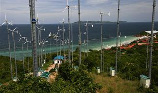 Rainbow Warrior beside Koh Lan Wind Turbines