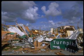 Damage caused by Hurricane Andrew, Dade County, Miami, Florida. USA.
