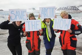 Emma Thompson and Michelle Thrush in the Arctic with Greenpeace
