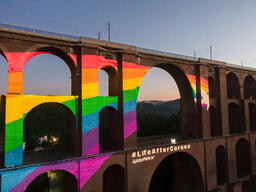 Rainbow Projection at Göltzsch Viaduct in Saxony (Aerial)