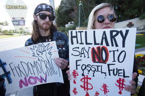 Protest at Clinton Fundraiser in Las Vegas