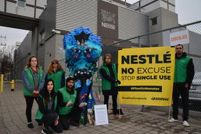 Plastic Monster Action at Nestlé Factory in Toronto