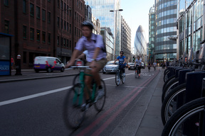 Cyclist in Traffic in Central London