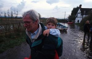 Evacuation from flooded Severn river valley. Gloucestershire, UK