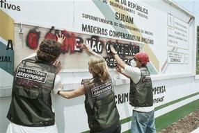 Greenpeace action against illegal logging, Manaus, Amazon, Brazil.