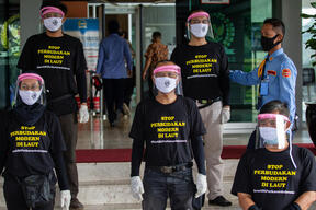 Fishers Crew Protest at Indonesian Parliament in Jakarta